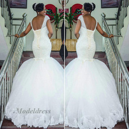nigeria sequin lacci Sconti Abiti da sposa Nigeria Mermaid Lace up Back Paillettes Bordare Appliques di lusso Sparkly Open Back Capped Abiti da sposa senza maniche 2018 Design