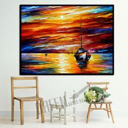 Pintura a óleo por do sol on-line-Faca moderna Pintura A Óleo sobre Tela Artesanal Atraente Golden Sunset Veleiro na Parede Do Mar Imagem para Sala de estar Quarto Decoração Da Parede