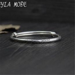 bracelet 999 Promotion Fyla Mode 999 En Argent Sterling Sculpté Fleur Bangle À La Main Thai Argent Femmes Hommes Bijoux Taille De Bracelet Réglable WT023