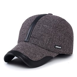Wholesale Ear Cold - 100% cotton thick ear protection baseball cap keep warm winter hat male cold autumn hat cold caps