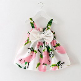 0370ce90d98e Infant baby clothes brand design sleeveless print bow dress 2016 summer girls  baby clothing cool cotton party princess dresses