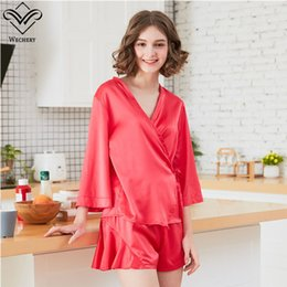 Wechery Chinese Style Pajama Set Sleepwear Satin Two Piece Blouse Top    Shorts Red Loose V Neck Nightwear Home Clothes for Women c88bce888
