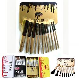 Wholesale metal shadow box - Kylie 12pcs set Makeup Brush Kit Case Cosmetic Facial Makeup Brush Tools Portable N3 Beauty Eye Face Tool with Retail Metal Box