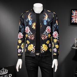Gold Black White Bomber Jacket Floral Bird Print Male Jacket Spring Autumn  Fashion Designer Vintage Men Club Outfit 5xl 8d56efc46
