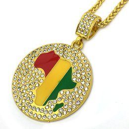 Wholesale Gold African Map Pendant - Gold Jamaican Africa Map Continent African Round Pendant Rope Chain Necklace Hip Hop Jewelry N702