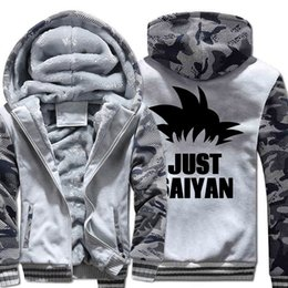 Camisolas de streetwear de alta qualidade 2018 apenas Saiyan casuais  thicken cotas para homens engraçado japão anime Z casacos de inverno a05bc66a824
