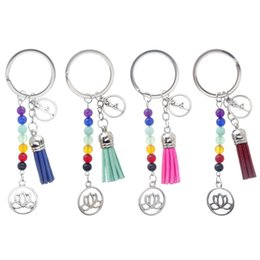 Wholesale multi color round beads - Yoga Fans Favor Seven Color Bead Design Keychain With Tassels Women Keys Ring Lotus Decoration Key Buckle Charms 3 2mq Z