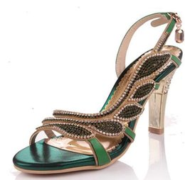 Wholesale Large Sized Ladies Shoes - 2018 size:34-42 summer new rhinestone sandals ladies hollow high heels crystal shoes Roman fine with large size banquet wedding shoes