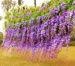 handbouquet blau Rabatt Großhandelslanges elegantes künstliches Silk Blumen-Wisteria-Reben-Rattan für Hochzeits-Mittelstück-Dekorationen Blumen-Rebe / Rattan für Hochzeit