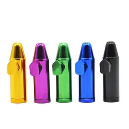 Forma di pallottola in metallo online-Mini pipe Bullet Shape Snuff Many Colors Metal Nose Easy Carry Clean Pipa per pipe fumatori di alta qualità Design unico