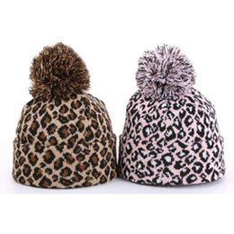 Wholesale knitted leopard hats - 1pc Leopard Man Women Hip-hop Knitted Hat Winter Thicken Warm Caps Pompon Beanie Hat Fashion Caps Pink Coffee HO673673