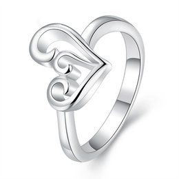 Discount wholesale brand ring - Heart Ring for Women Wedding Band Dress China Wholes Engagement Rings Fashion Korean Jewelry Brands 925 Sterling Silver Masonic Silver Rings