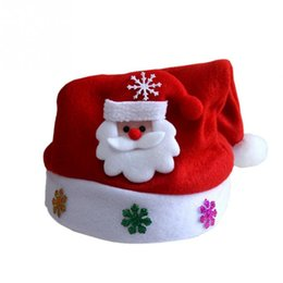Wholesale black santa hats - Kids Cheer Christmas Hat Children Santa Claus Reindeer Snowman Party Cute Cap Xmas Supplies