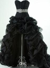 Abito nero scollo basso online-Classic 2018 Nero High Low Prom Dresses Corsetto scollo a cuore lucido perline Vita Pick-up Abiti da Fiesta