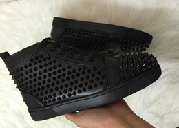 Wholesale mens studded shoes - Flat Shoes Shiny Studded Spikes Red Bottom shoes Designer Sneakers Spikes Orlato red bottom Sneakers mens loubbis shoes with box and dustbag