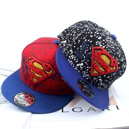 Wholesale Children Costumes Boys - Kids superman costume Embroidered hat Blue Black baseball cap Super children hat cartoon Beret Hat