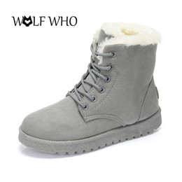 Wholesale insoles warming - WOLF WHO Suede Women Winter Ankle Boots Lace Up Flat Casual Snow Shoes Female Warm Fur Plush Insole High Quality Botas Mujer