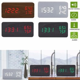 Wholesale wooden clock led - LED Wooden Sound Control Wall Clocks Kitchen Stickers Home Decor Bedroom Decoration Wall Mirror wallpaper Household Craft Suppiles