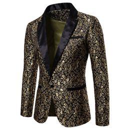 Männer prom blazer online-Slim Fit Blazer Männer 2018 Neue Ankunft Mens Floral Blazer Floral Abendkleid Blazer Elegante Hochzeit Blazer und Anzug Jacke Männer