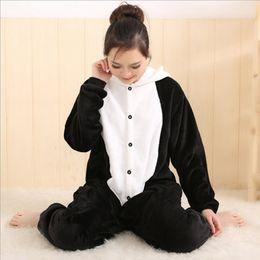 Wholesale Panda Pajama Set - On Sale Women Animal Panda Adult Pajamas Full Sleeve Hooded Soft Flannel Pajama Sets Coral Fleece Pijama Cosplay Animal Pajamas