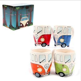 cup paintings Promo Codes - Vintage Ceramic Mug 301-400ml UK Puckator Hand Painted Ceramic Cartoon Bus Cup Vintage Car Mug Drinkware dhl Free Shipping