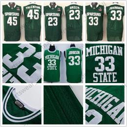 NCAA Michigan State Spartans Jersey 33 Magic Johnson Retro 14 Gary Harris  45 Denzel Valentine 23 Draymond Green College Basketball Jerseys michigan  state ... 40d1c48a5