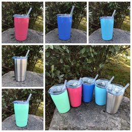 Wholesale Insulated Briefs - 5 Colors 12oz Kid Milk Cup Vacuum Insulated Beer Mugs Stainless Steel Wine Glass Coffee Mugs With Lid With Straw CCA9237 30pcs