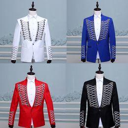 Линии фотографии онлайн-Men's Buttons Uniform Costumes Suits Suits Line Dress Hosting Rivets Suit Studio Photography Theme Clothes