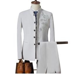 3 unidades del estilo chino del collar del mandarín de los hombres trajes de marca de moda masculina dragón bordado negocios vestido de boda para hombre desde fabricantes