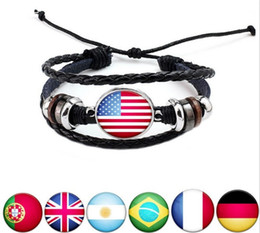 Brazil bracelets en Ligne-Nouvelle Mode 2018 Coupe du Monde Drapeau Brésilienne Vintage Argent Bracelets En Cuir Femmes Hommes Football Ventilateurs De Sport Réglable Bracelet Cadeaux