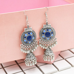серьги jhumki  Скидка Traditional  Ethnic Silver Metal Drop Earrings Fringe For Women Gypsy Long Tassel Jhumka Jhumki Earring Dangle Statement