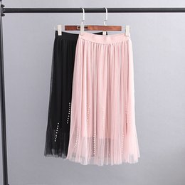 Wholesale Plus Size Vertical - S9 Summer Plus Size Women Clothing Skirts Casual Fashion Loose elastic waist Vertical beading Pleated Mesh Skirt GL0078