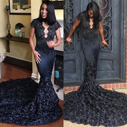 Wholesale Black Long Dresses For Prom - 2018 Black Lace Sexy Prom Dresses 3D Flowers Mermaid Cap Sleeves Keyhole Neckline Long Evening Gowns Graduation Dress For Juniors