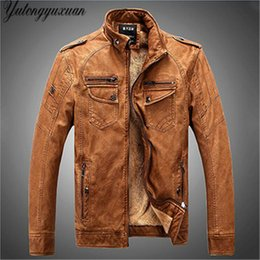 Wholesale Genuine Leather Jacket Men Brown - Wholesale- 2017 Full Promotion Fashion Leather Motorcycle Jacket Men Winter Pilot Jackets And Coats Biker Mantel Mens Faux Famous Brand