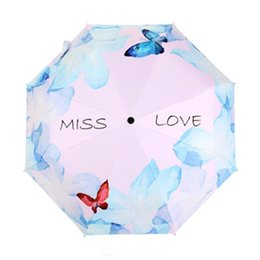 Wholesale Kid Rain Gear - Non-Automatic Butterfly Umbrella Three Folding Flower Umbrellas Women Kids Parasol Umbrella Rain Gear Rain Chuva Paragua 3
