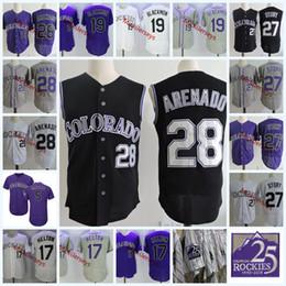 Wholesale mens blue vest - Mens Nolan Arenado Black Vest Jerseys 5 Carlos Gonzalez 19 Charlie Blackmon 17 Todd Helton 27 Trevor Story Flex base baseball Jersey