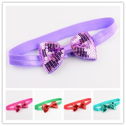Wholesale Embroideried Sequin - 20pcs Lot 20colors Excellent Quality Elastic Headband With Embroideried Sequin Bows Kids Headbands Diy Crafts Hair Accessories