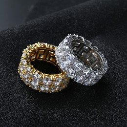 men gold chain sets Coupons - New Design Gold Silver Color Plated Ring Micro Paved 2 Row Chain Big Zircon Shiny Hip Hop Finger Rings for Men Women