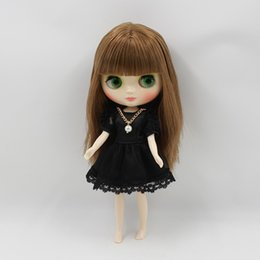 Wholesale Change Hair - ICY Nude Factory Middle Blyth doll Brown wavy hair with bangs suitable for change toy white skin Neo
