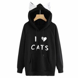 Kawaii Cat Ear Hoodies Donna Cute Cartoon Sleeping Cat Print Felpa con cappuccio Casual Allentato Pullover Tuta Capispalla
