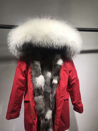 Wholesale Xs Dog Collar Green - 2018 New Mr Mrs itlay silver black fox fur liner red long parka with white fur trim Mr Mrs furs women snow jackets Germany Canada