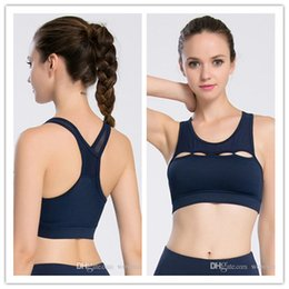 Wholesale Sports Bra Spandex - 2018 new lady Cross Strap Sexy Sports Bra Push Up Shockproof Vest Gym Fitness Tops with Padding breathable Yoga underwear Quick Dry