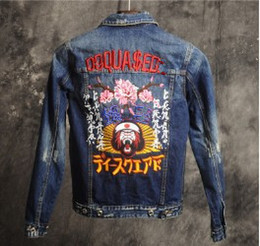 Wholesale Japanese Male Jackets Fashion - Autumn and winter tide brand jeans fashion heavy embroidery Japanese cherry Japan Gin male and female jacket jacket