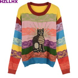 Wholesale Ladies Lace Knit Tops - HZLLHX women cute rainbow stripes sweater fall winter top Sweet cat embroidery lace stripes ladies chic pullovers knitted news