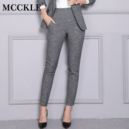 fec1357d5f1 MCCKLE 2018 Autumn Winter Women OL Formal Pants Plus Size Loose Female  Straight Trousers Casual Work Women Thick Pencil Pants women casual work  trousers for ...