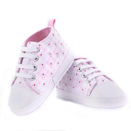 Wholesale purple baby crib - Infants Baby Boy Girl Soft Sole Crib Shoes Casual Lace Prewalkers Sneaker 0-18M X16