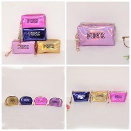 Wholesale PINK Láser Bolsa de cosméticos Bolsas de maquillaje a prueba de agua Mujeres Laser Flash Bolsas de cuero con diamantes Monedero para niños