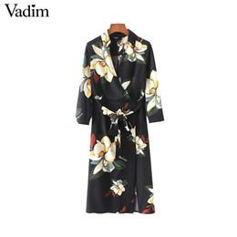 Wholesale Female Neck Ties - Vadim women vintage V neck floral dress bow tie sashes side split pleated female spring chic streetwear dresses vestidos QZ3523