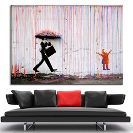 Wholesale Raining Wall Painting - Wall Art Canvas Abstract Paintings Bright Color Modern Oil picture No Frame Banksy Art Colorful Rain Wall Home Decoration