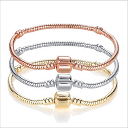 Wholesale pandora bracelet leather - 17-21cm European Charms Snake Chain 18 Gold Plated Bracelet Fit Pandora Rose Gold Bracelets Wholesale Fit For European Beads Charms Dangles